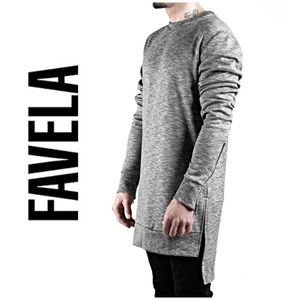 FAVELA SNOW GREY SHIRRING PULLOVER Sweater A021